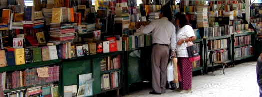 Bookseller stands in the park outside of the federal court building, Buenos Aires, Argentina
